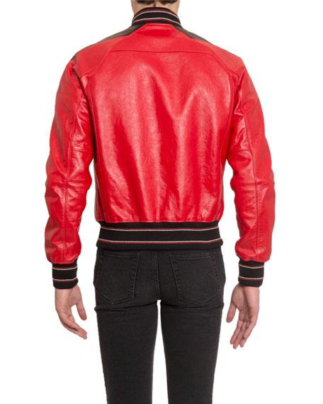 Men's V-Cut Leather Blouson Jacket