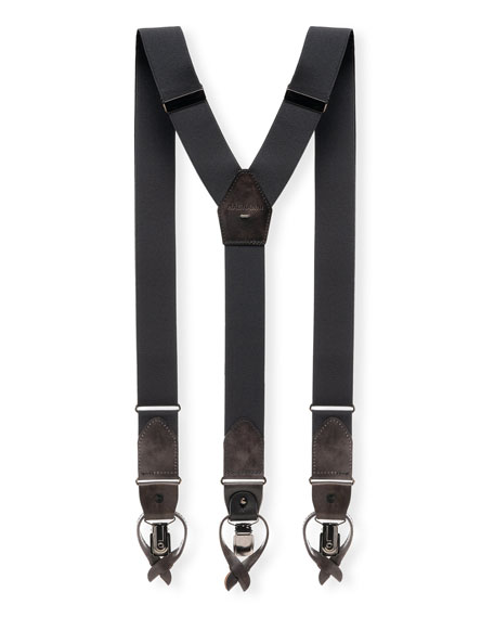 Men's Lindor Leather-Trim Stretch Braces, Gray