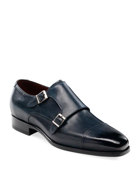 Magnanni Shoes MEN'S WOOSTER DOUBLE-MONK LEATHER SHOES