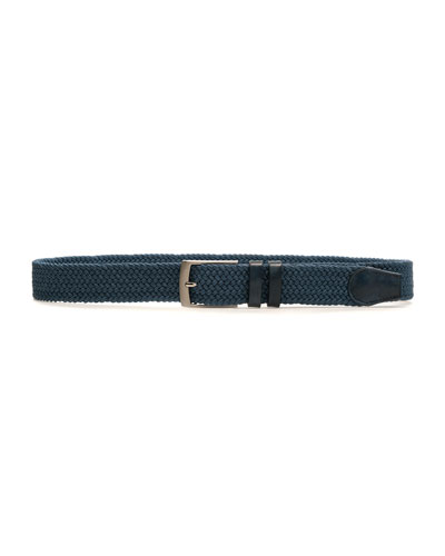 Men's Nadal Woven Belt w/ Leather Trim  Blue