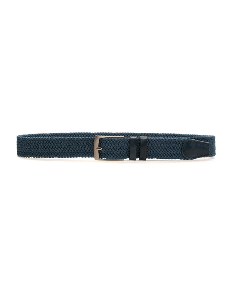 Men's Nadal Woven Belt w/ Leather Trim, Blue