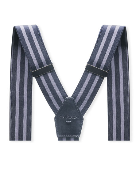 Men's Hugo Leather-Trim Braces, Navy