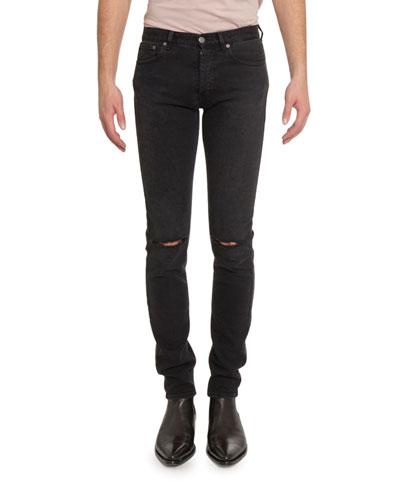 Men's Distressed Skinny Stretch-Denim Jeans  Black