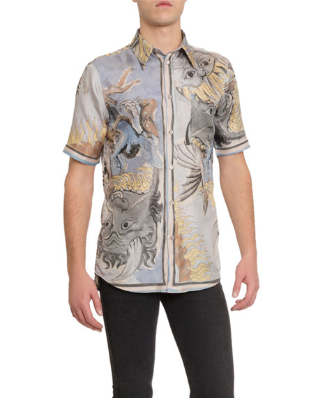 Men's Silk Graphic Print Shirt