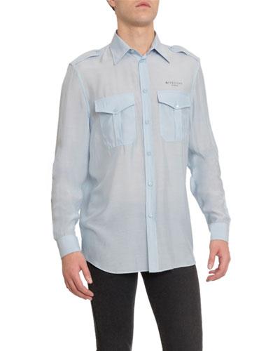 Men's Silk-Blend Military Sport Shirt