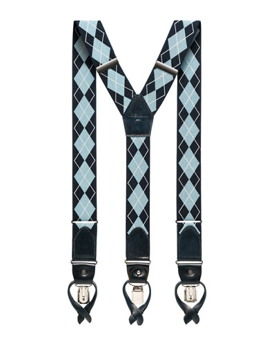 Men's Argyle Braces w/ Leather Trim
