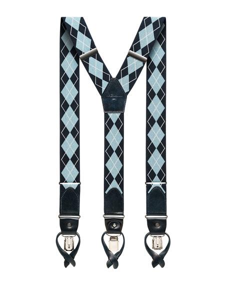 Men's Argyle Braces w/ Leather Trim