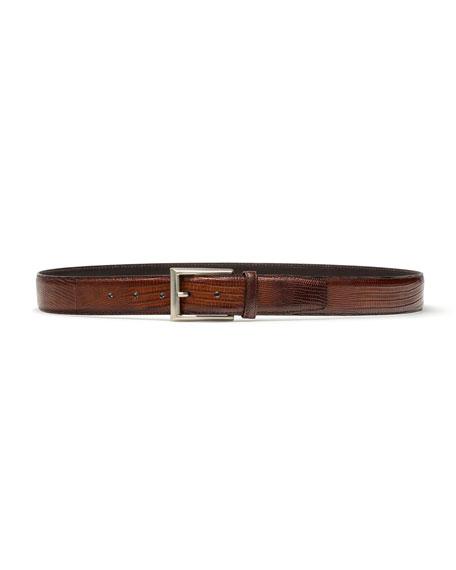 Men's Lizard Silvertone-Buckle Belt, Cognac