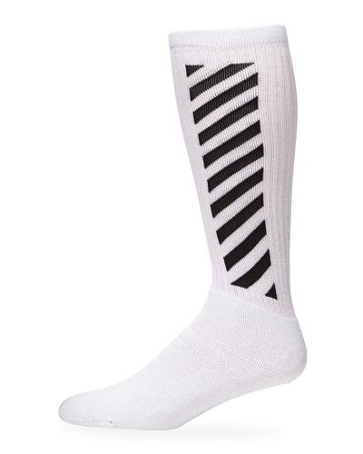 Men's Diagonal-Stripe Mid-Length Socks