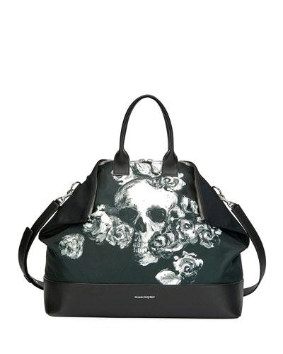 Men's De-Manta Skull Leather Bag
