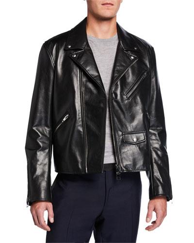 Men's Zip-Front Leather Moto Jacket