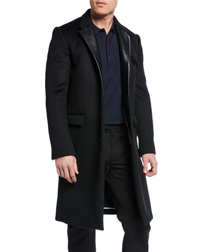 Men's Single-Breasted Overcoat with Leather Lapels