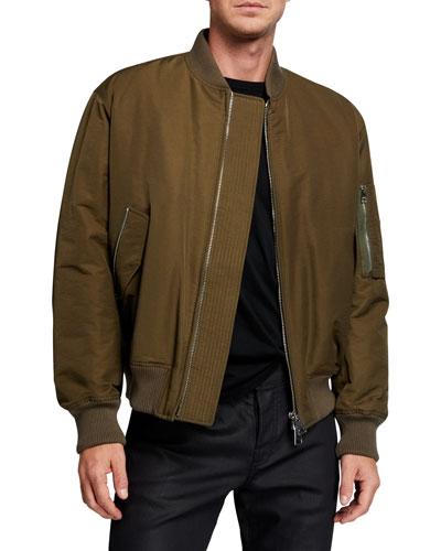 Men's Coated Zip-Front Bomber Jacket