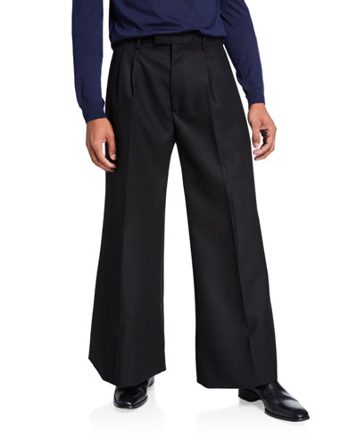 Men's Wide-Leg Lightweight Wool Pants