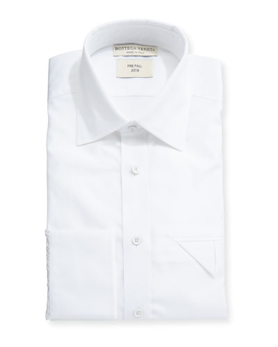 Men's Poplin Egyptian Cotton Dress Shirt w/ Pocket Fold