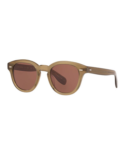 Men's Round Thick Acetate Sunglasses