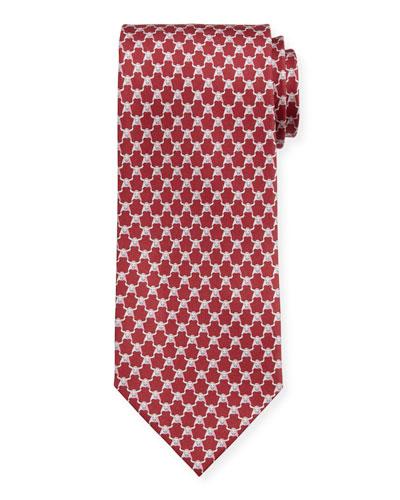 Men's Indro Silk Bull-Print Tie  Orange