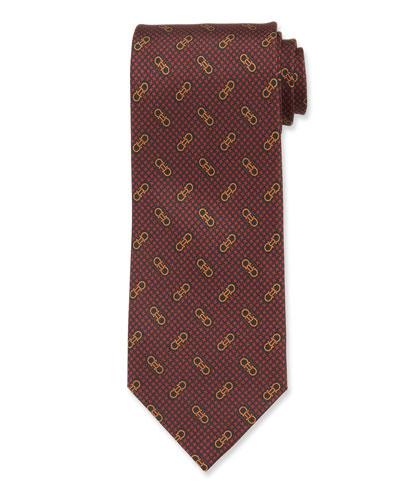 Men's Vintage Gancini Silk Tie  Red