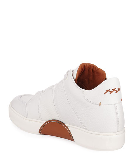 Men's Tiziano Grained Leather High-Top Sneakers