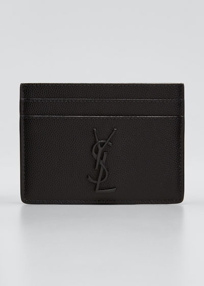 Men's Tonal YSL Logo Leather Card Holder