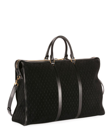 Men's YSL Velvet/Leather Weekender Duffel Bag
