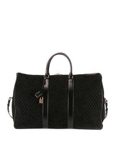 Men's Large YSL Velvet/Leather Weekender Duffel Bag