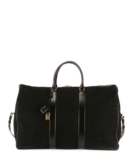 3fe6434346a Saint Laurent Men's Large YSL Velvet/Leather Weekender Duffel Bag