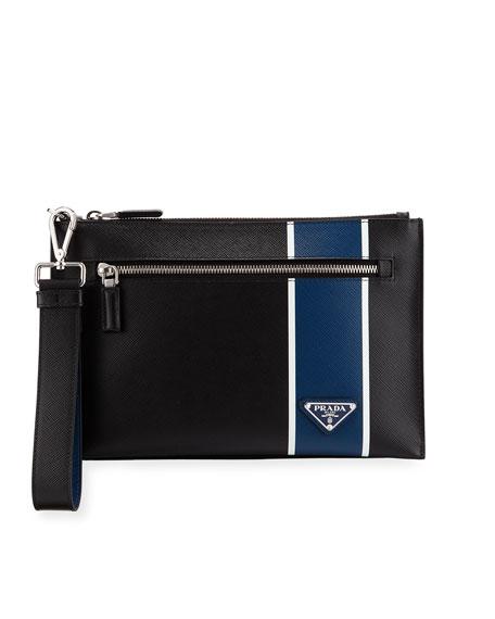 Men's Saffiano Leather Wristlet Pouch Bag