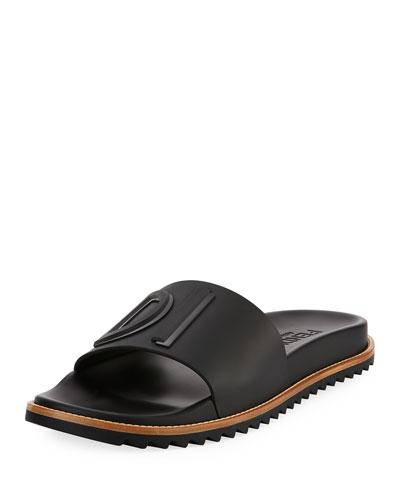 Rubber Slide Sandals w/ Raised Logo Detail