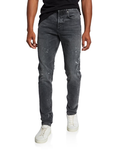 Men's Standard Issue Fit 1 Slim-Skinny Jeans with Splatter
