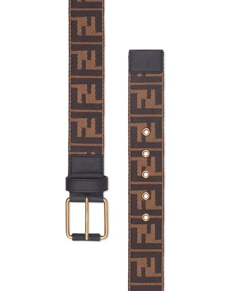 Men's FF Logo Knit Belt w/Leather Trim