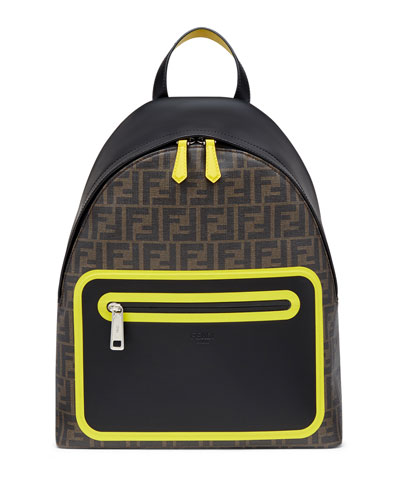 Men's FF Logo Neon Leather Backpack