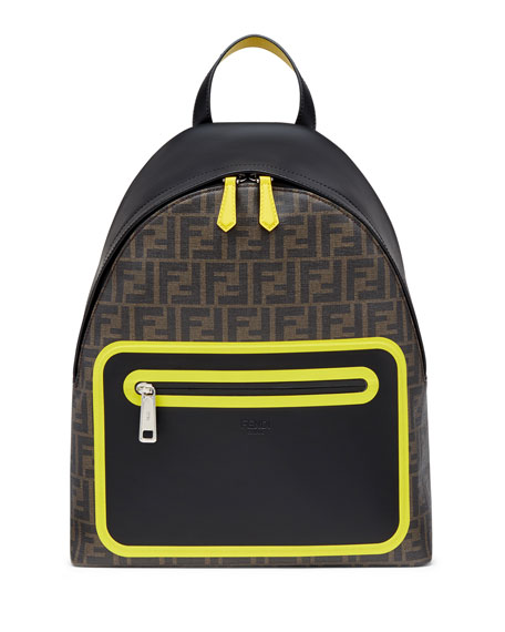 Men's FF Logo Neon Leather Backpack