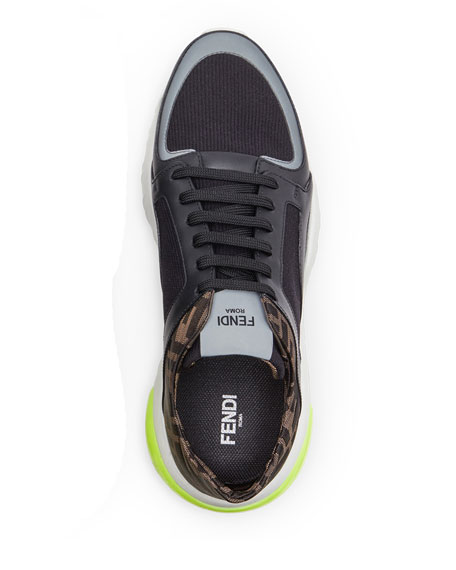 Men's FF Logo Stretch-Knit/Leather Chunky Sneakers