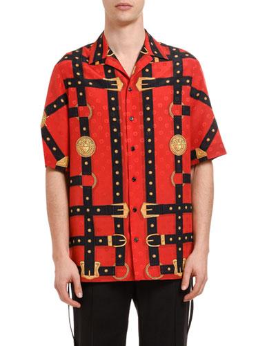 Men's Harness Graphic Silk Sport Shirt