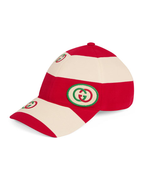 Men's Striped Logo-Applique Baseball Cap