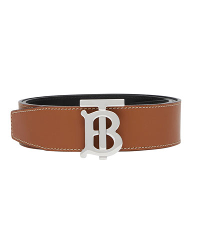 Men's TB Logo-Buckle Reversible Belt