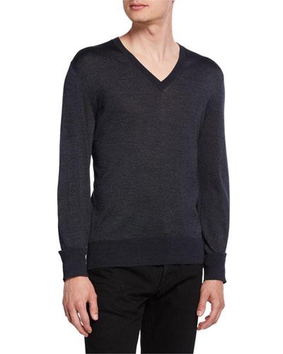 Men's Silk V-Neck Sweater