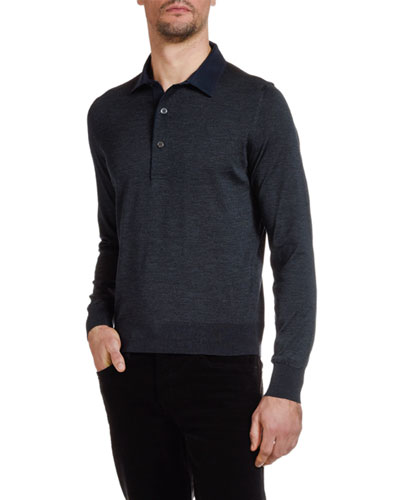 Men's Knit Long-Sleeve Polo Shirt