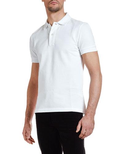 Men's Pique-Knit Polo Shirt  White