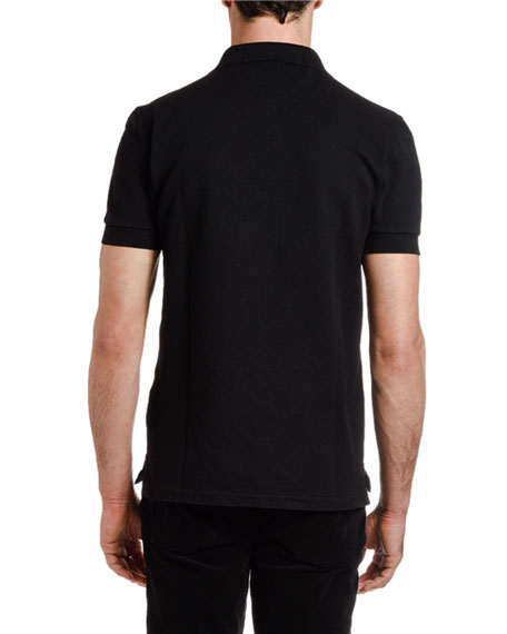 Men's Pique-Knit Polo Shirt, Black