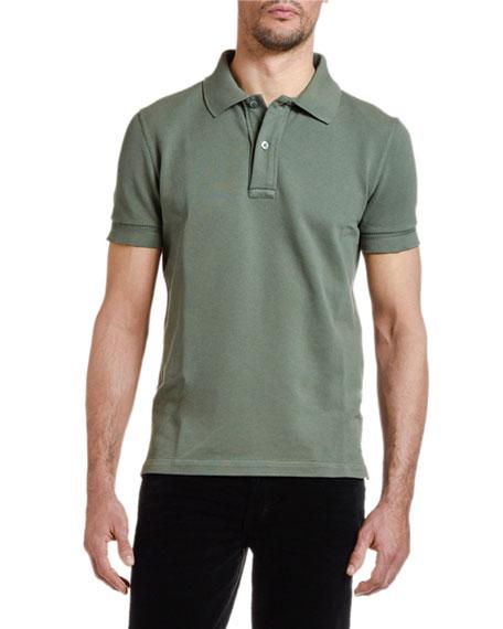 Men's Pique-Knit Polo Shirt, Green