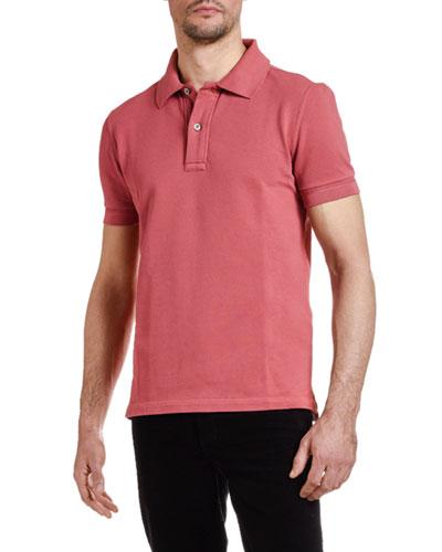 Men's Pique-Knit Polo Shirt  Red