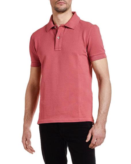 Men's Pique-Knit Polo Shirt, Red