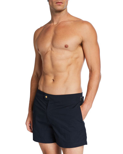 Men's Solid Swim Trunks  Navy Blue