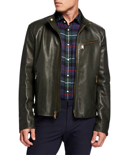 Men's Luxe Leather Zip-Pocket Biker Jacket