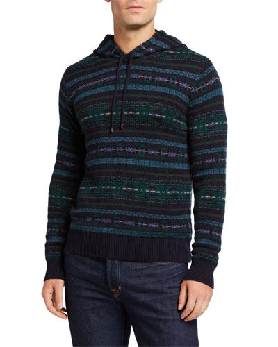 Men's Cashmere Fair Isle Hoodie Sweater