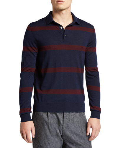 Men's Striped Wool Polo Shirt