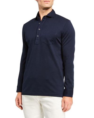 Men's Washed Long-Sleeve Pocket Polo Shirt  Navy