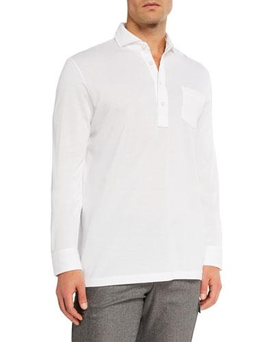 Men's Washed Long-Sleeve Pocket Polo Shirt  White